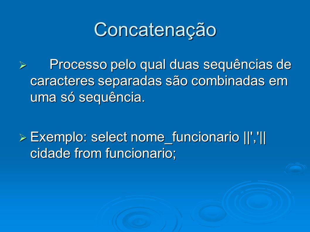 Concatenação Processo pelo qual duas sequências de caracteres separadas são combinadas em uma só sequência.