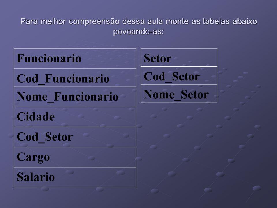 Funcionario Cod_Funcionario Nome_Funcionario Cidade Cod_Setor Cargo