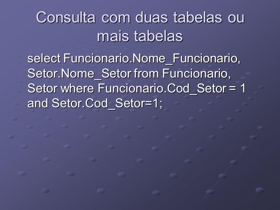 Consulta com duas tabelas ou mais tabelas