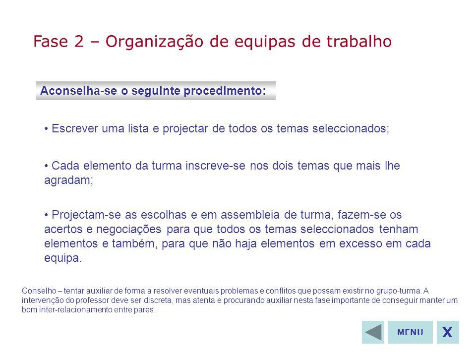 Fase 2 – Organização de equipas de trabalho