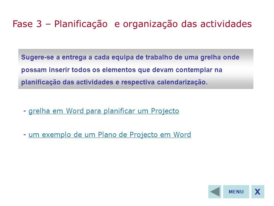 Fase 3 – Planificação e organização das actividades