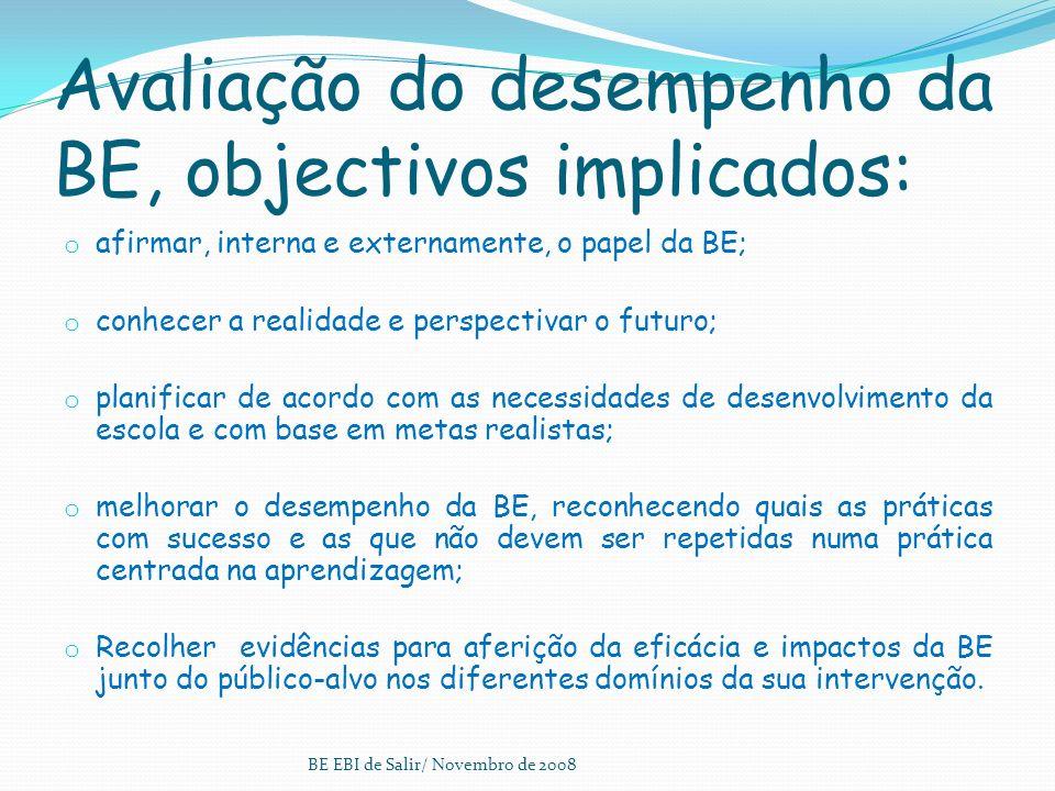 Avaliação do desempenho da BE, objectivos implicados: