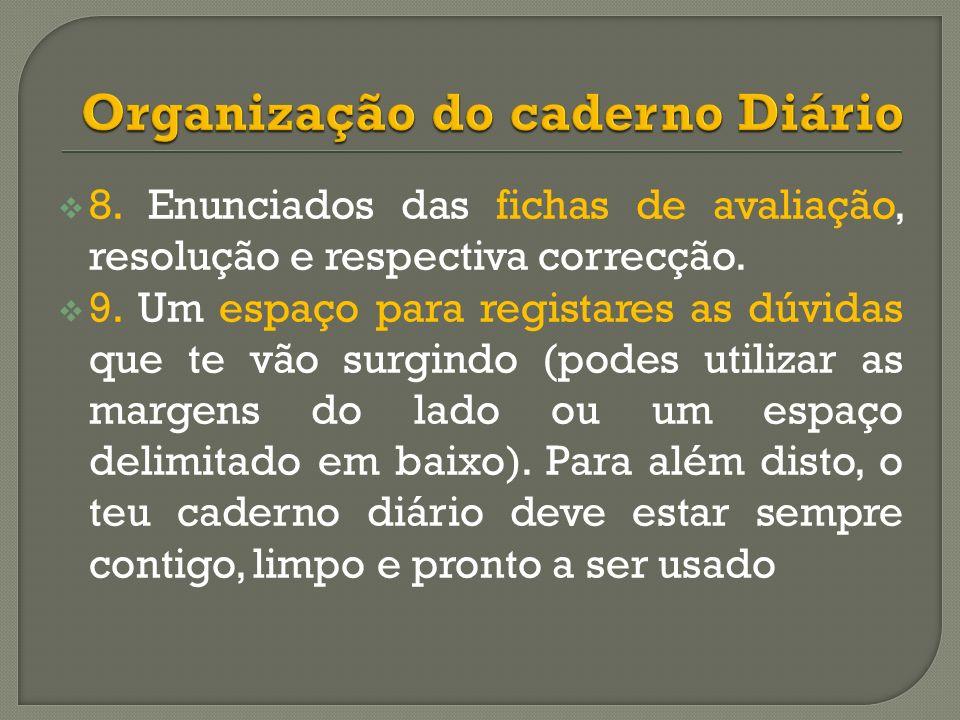 Organização do caderno Diário