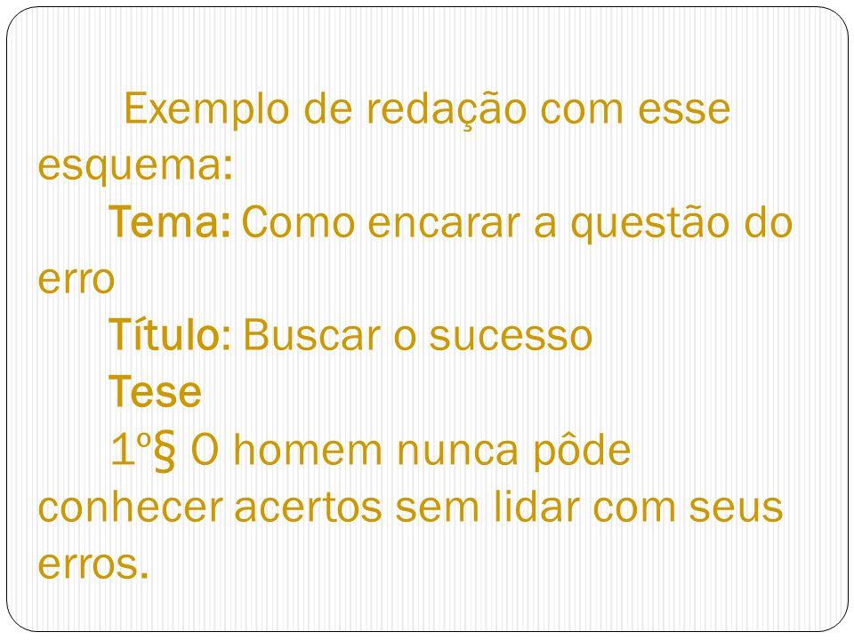 Exemplo de redação com esse esquema: Tema: Como encarar a questão do erro Título: Buscar o sucesso Tese 1º§ O homem nunca pôde conhecer acertos sem lidar com seus erros.