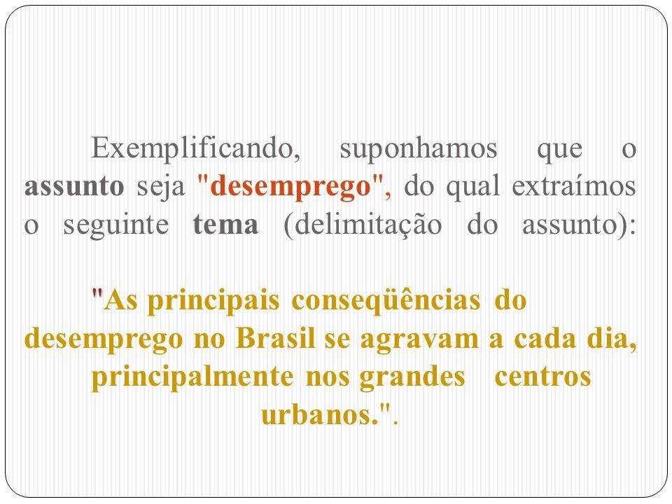 Exemplificando, suponhamos que o assunto seja desemprego , do qual extraímos o seguinte tema (delimitação do assunto): As principais conseqüências do desemprego no Brasil se agravam a cada dia, principalmente nos grandes centros urbanos. .