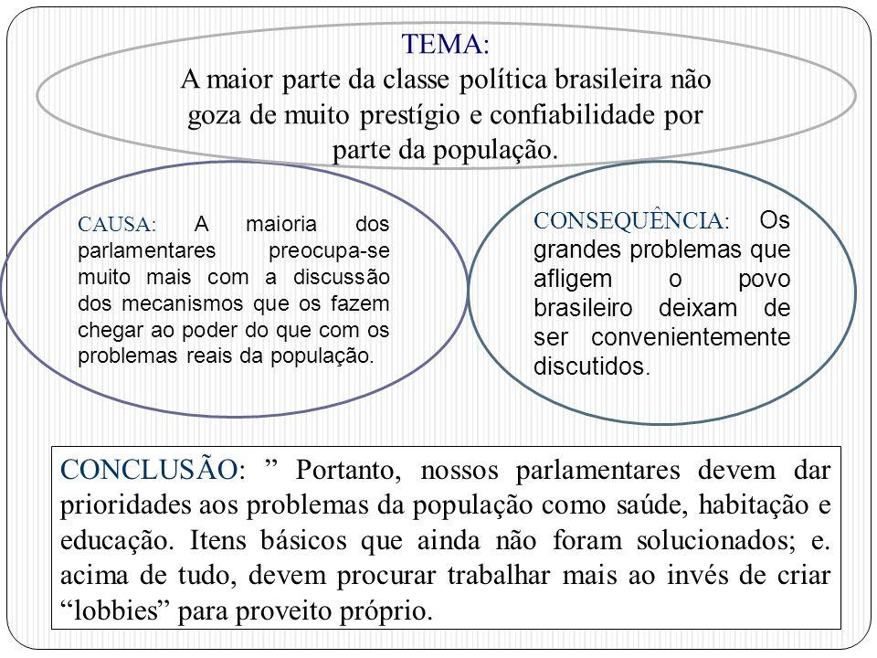 TEMA: A maior parte da classe política brasileira não goza de muito prestígio e confiabilidade por parte da população.