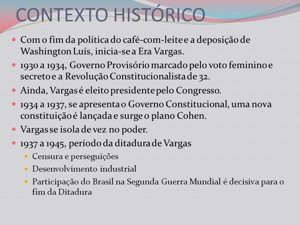 CONTEXTO HISTÓRICO Com o fim da política do café-com-leite e a deposição de Washington Luís, inicia-se a Era Vargas.