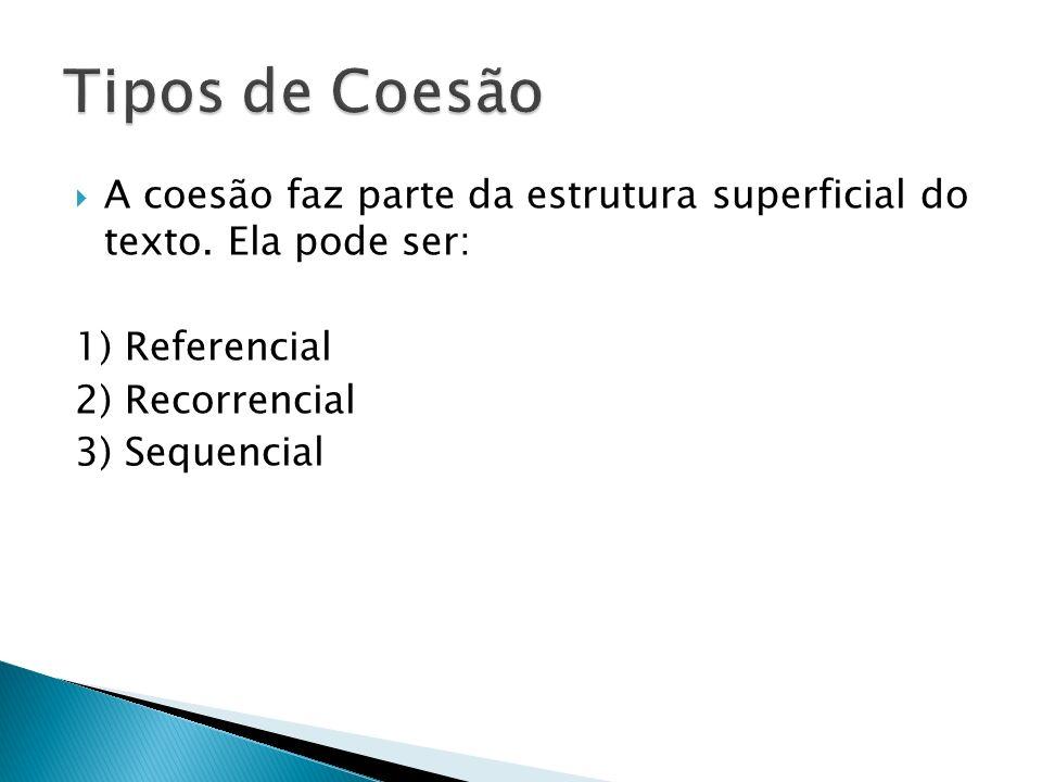 Tipos de Coesão A coesão faz parte da estrutura superficial do texto. Ela pode ser: 1) Referencial.