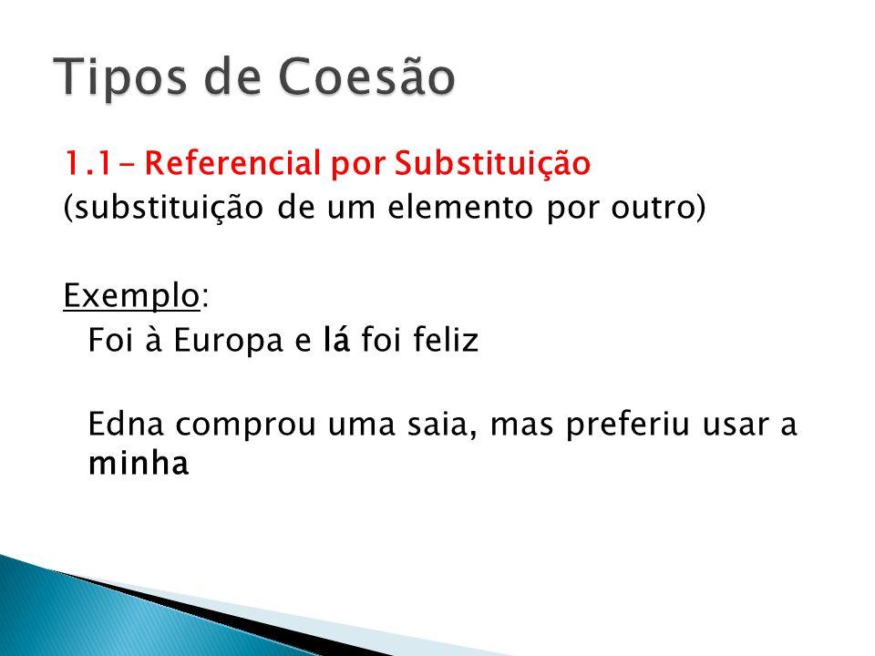 Tipos de Coesão 1.1- Referencial por Substituição
