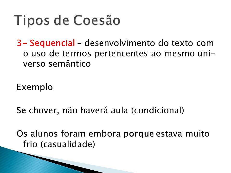 Tipos de Coesão 3- Sequencial – desenvolvimento do texto com o uso de termos pertencentes ao mesmo uni- verso semântico.