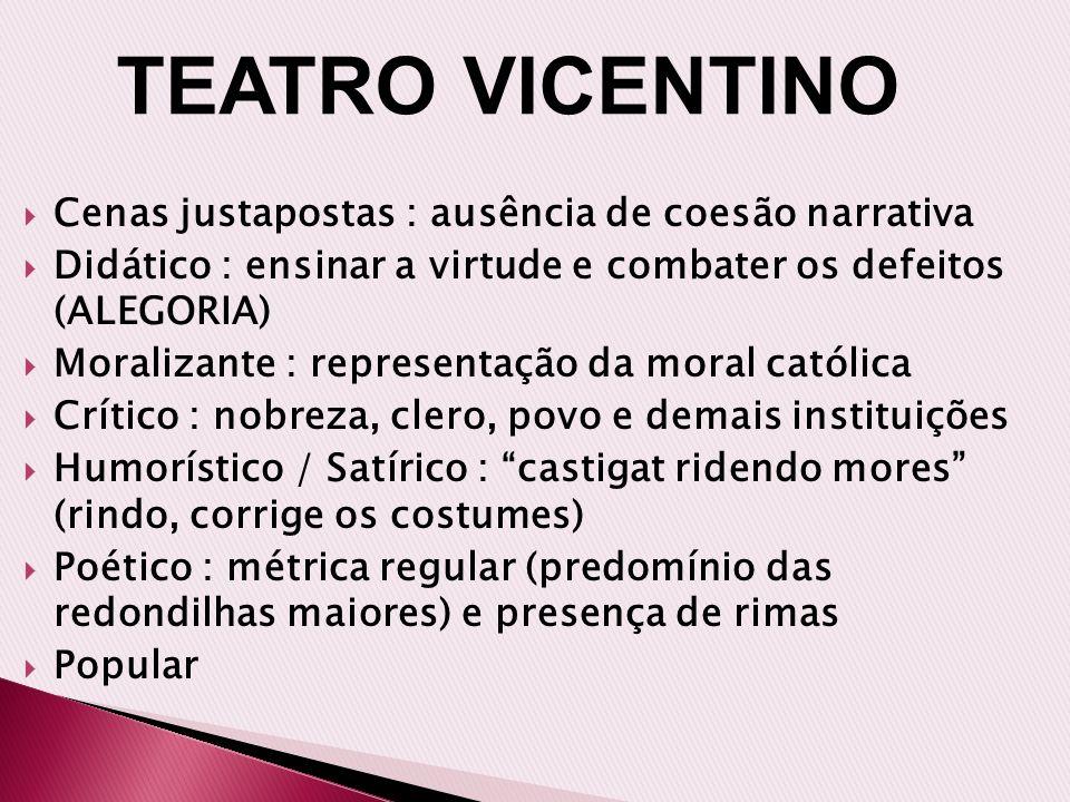TEATRO VICENTINO Cenas justapostas : ausência de coesão narrativa
