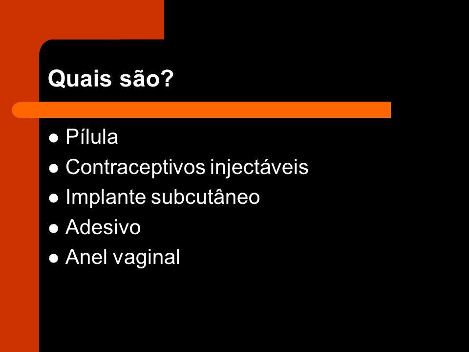 Quais são Pílula Contraceptivos injectáveis Implante subcutâneo
