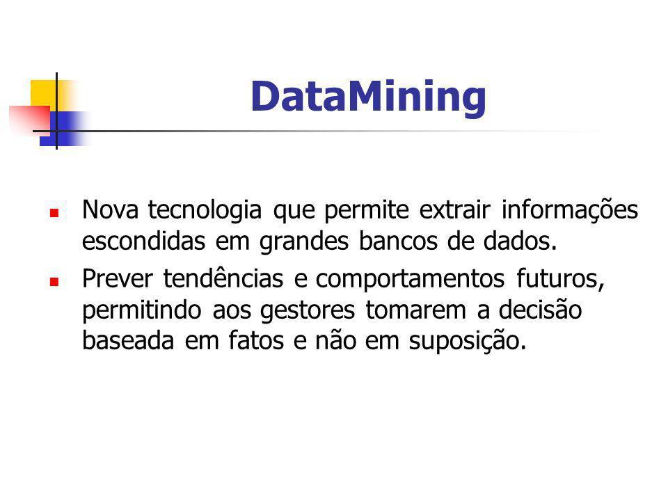 DataMining Nova tecnologia que permite extrair informações escondidas em grandes bancos de dados.