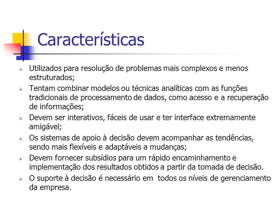 Características Utilizados para resolução de problemas mais complexos e menos estruturados;