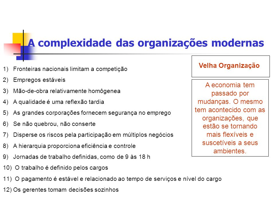 A complexidade das organizações modernas