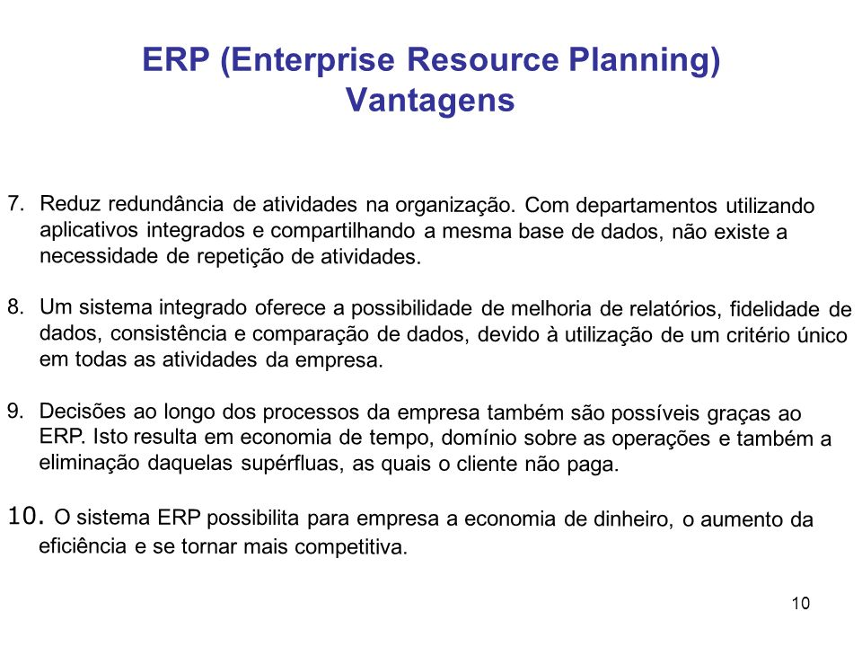 ERP (Enterprise Resource Planning) Vantagens