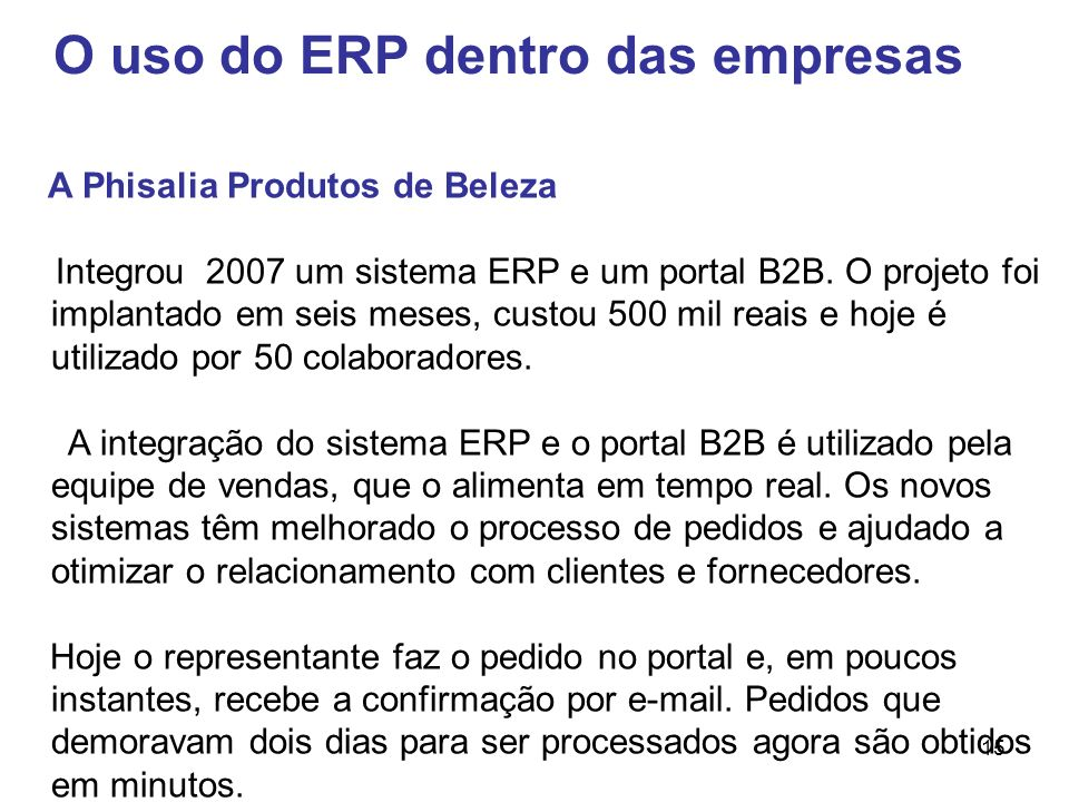 O uso do ERP dentro das empresas