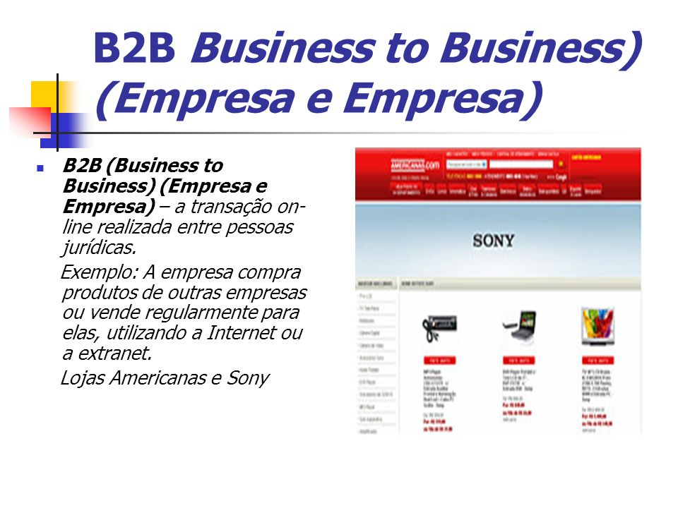 B2B Business to Business) (Empresa e Empresa)