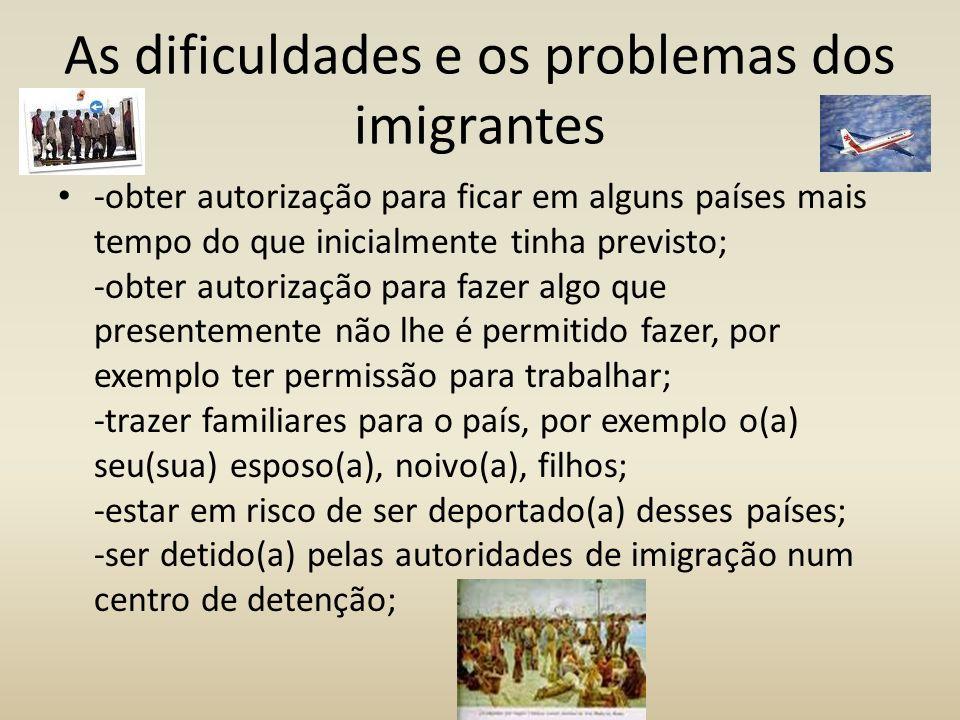 As dificuldades e os problemas dos imigrantes