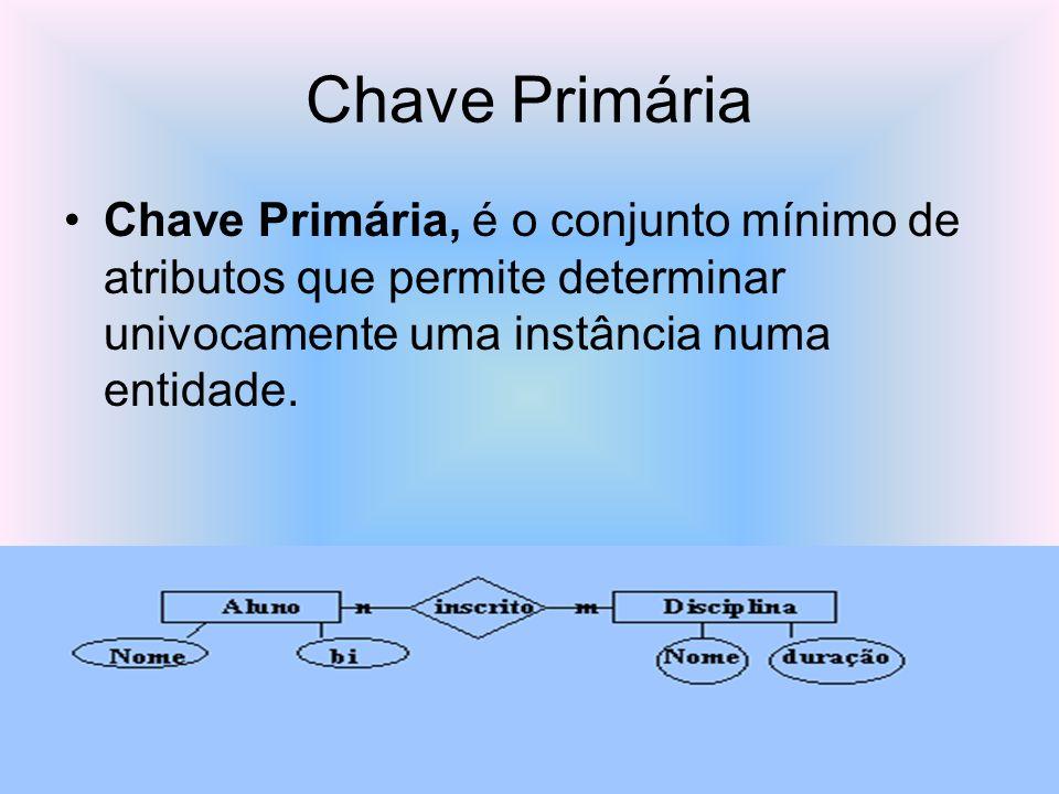 Chave PrimáriaChave Primária, é o conjunto mínimo de atributos que permite determinar univocamente uma instância numa entidade.