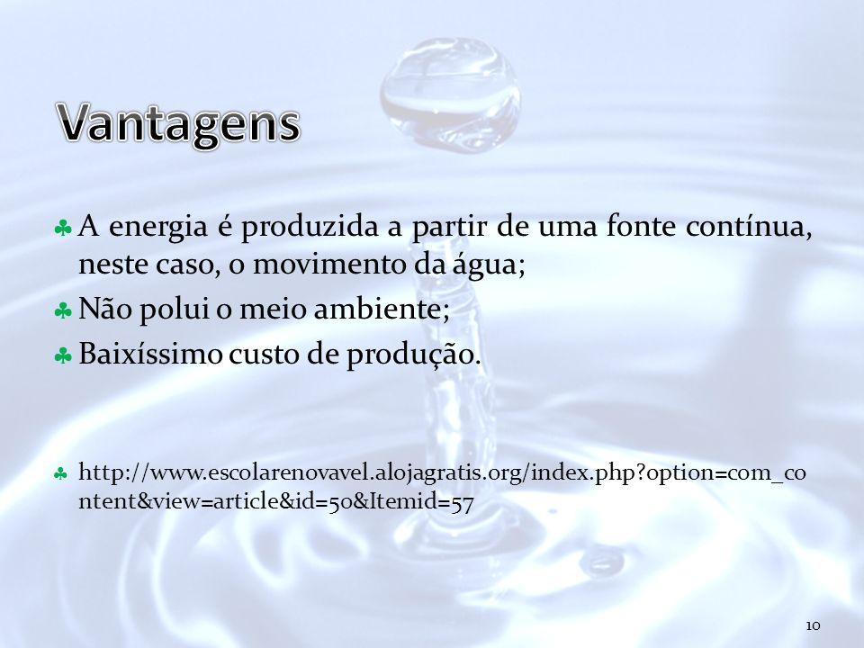 Vantagens A energia é produzida a partir de uma fonte contínua, neste caso, o movimento da água; Não polui o meio ambiente;