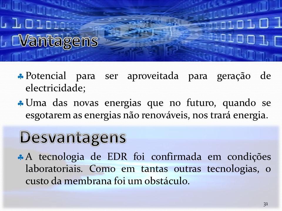 Vantagens Potencial para ser aproveitada para geração de electricidade;