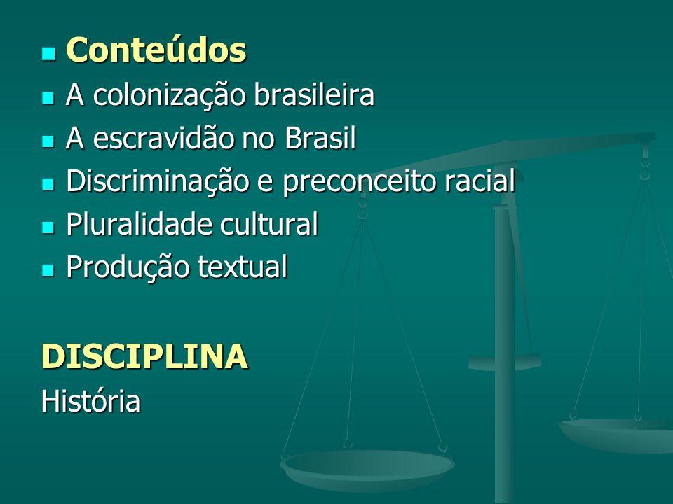 Conteúdos DISCIPLINA A colonização brasileira A escravidão no Brasil