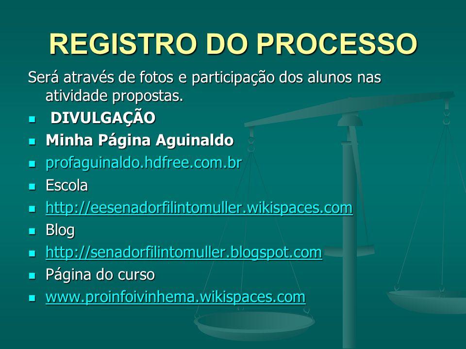 REGISTRO DO PROCESSO Será através de fotos e participação dos alunos nas atividade propostas. DIVULGAÇÃO.