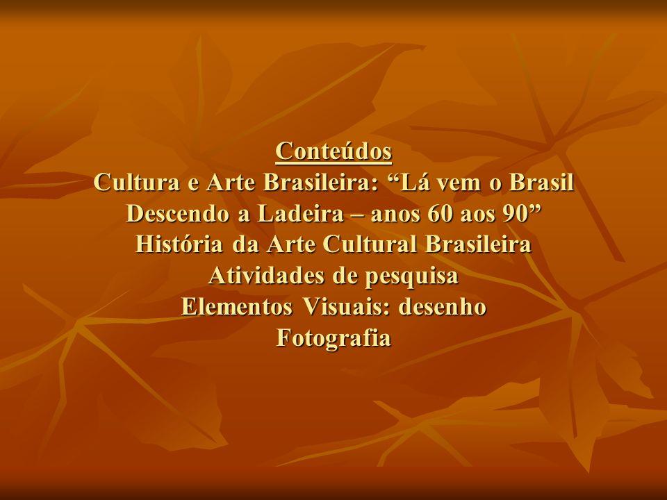 Conteúdos Cultura e Arte Brasileira: Lá vem o Brasil Descendo a Ladeira – anos 60 aos 90 História da Arte Cultural Brasileira Atividades de pesquisa Elementos Visuais: desenho Fotografia
