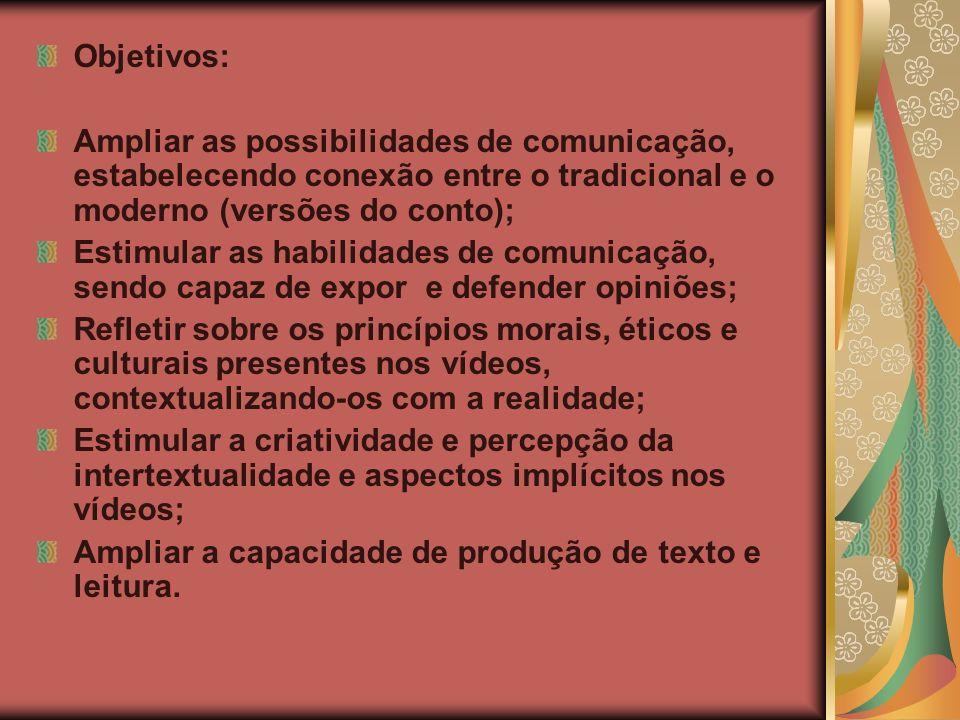 Objetivos: Ampliar as possibilidades de comunicação, estabelecendo conexão entre o tradicional e o moderno (versões do conto);