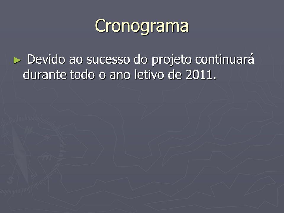 Cronograma Devido ao sucesso do projeto continuará durante todo o ano letivo de 2011.