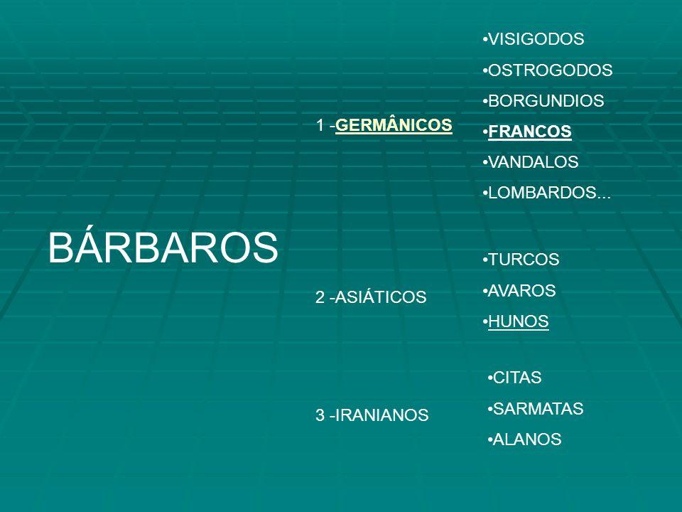 BÁRBAROS VISIGODOS OSTROGODOS BORGUNDIOS FRANCOS VANDALOS LOMBARDOS...