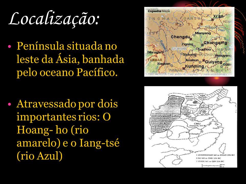 Localização: Península situada no leste da Ásia, banhada pelo oceano Pacífico.