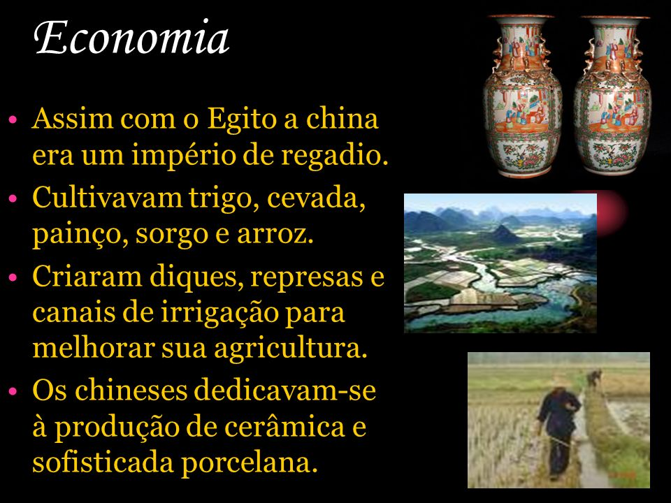 Economia Assim com o Egito a china era um império de regadio.