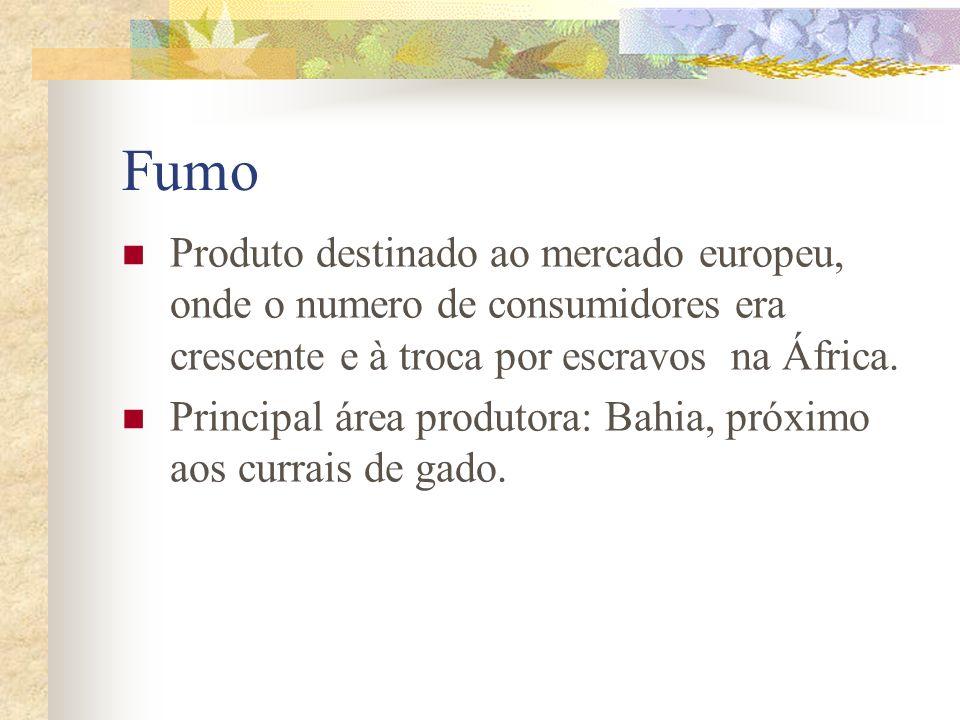 Fumo Produto destinado ao mercado europeu, onde o numero de consumidores era crescente e à troca por escravos na África.