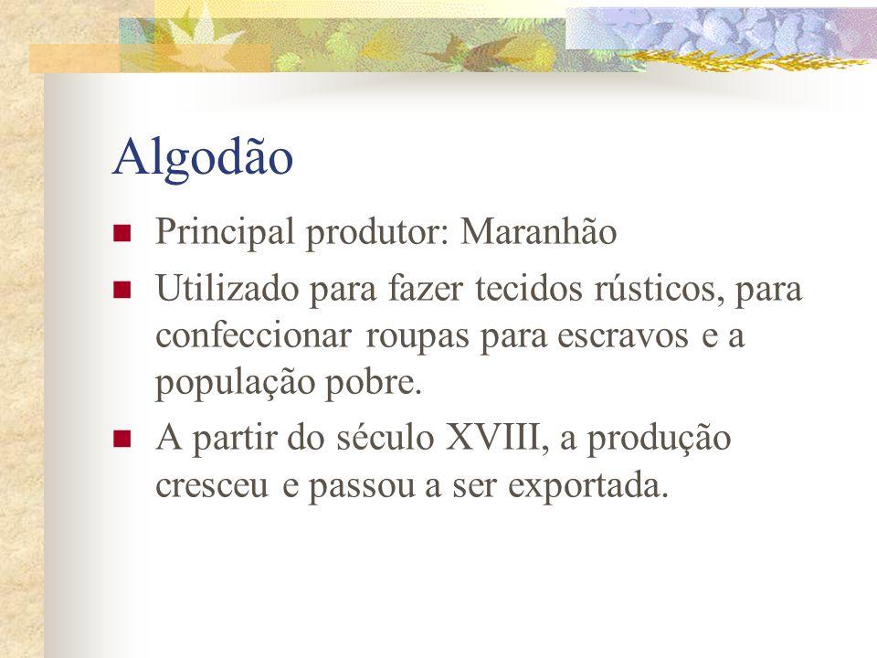 Algodão Principal produtor: Maranhão