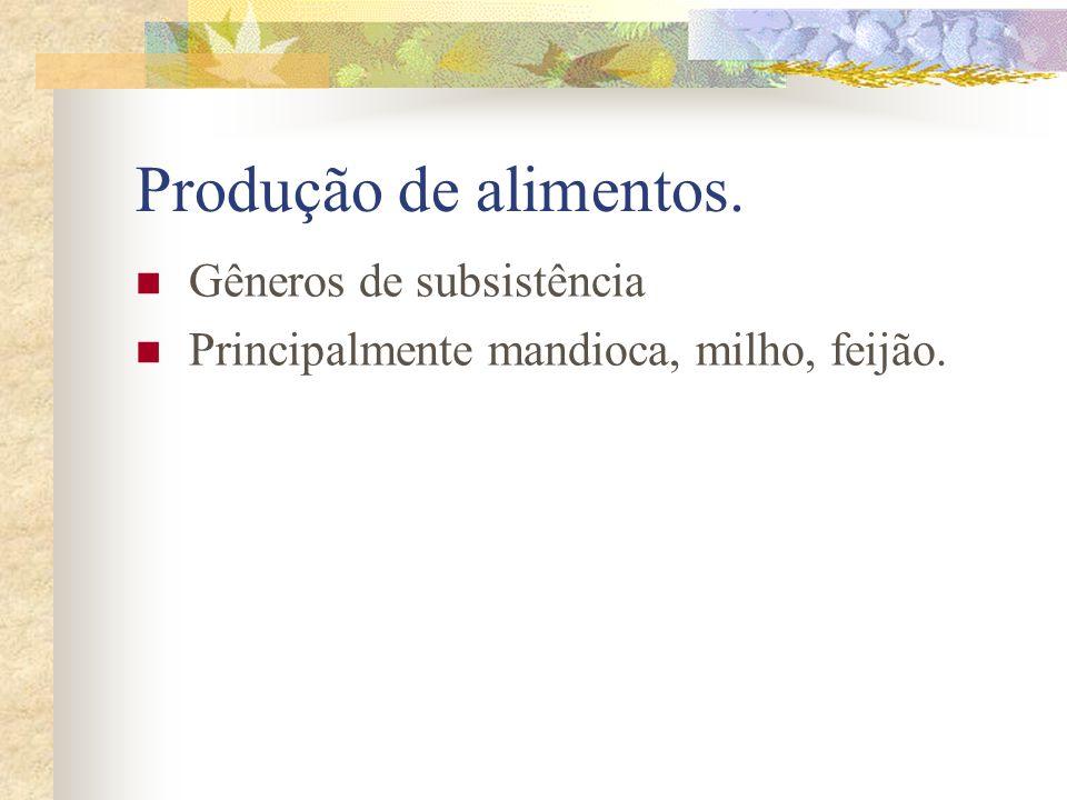 Produção de alimentos. Gêneros de subsistência