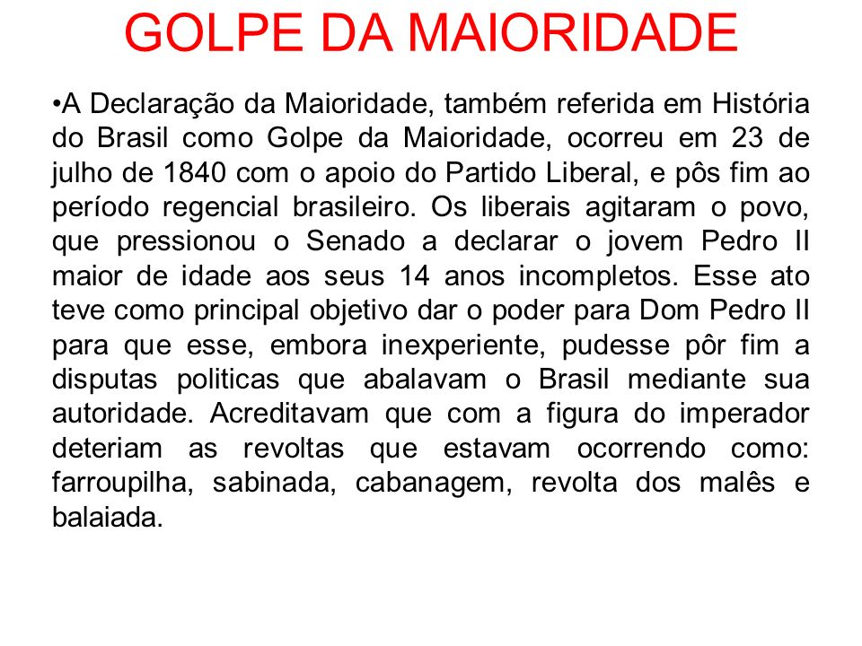 GOLPE DA MAIORIDADE