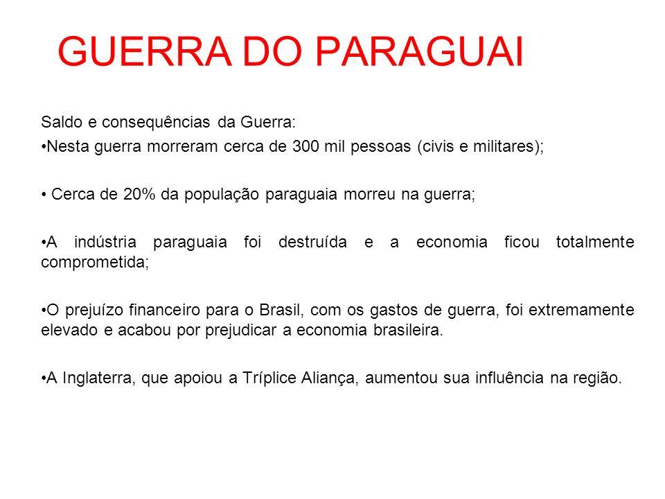 GUERRA DO PARAGUAI Saldo e consequências da Guerra: