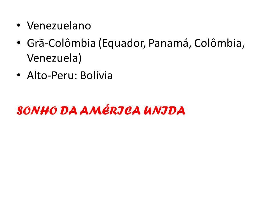 Venezuelano Grã-Colômbia (Equador, Panamá, Colômbia, Venezuela) Alto-Peru: Bolívia.