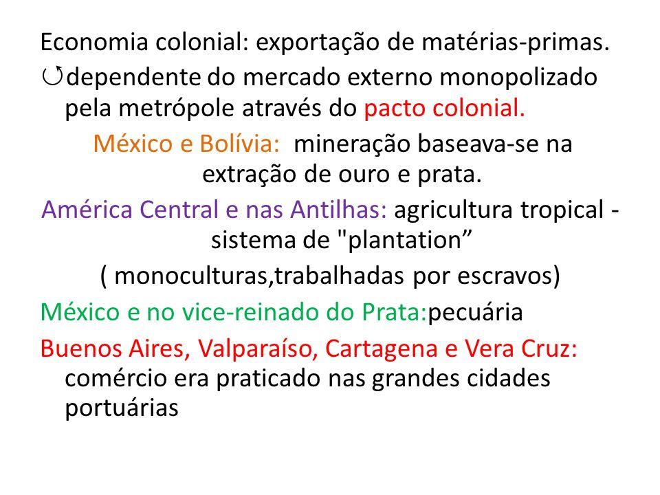 Economia colonial: exportação de matérias-primas.