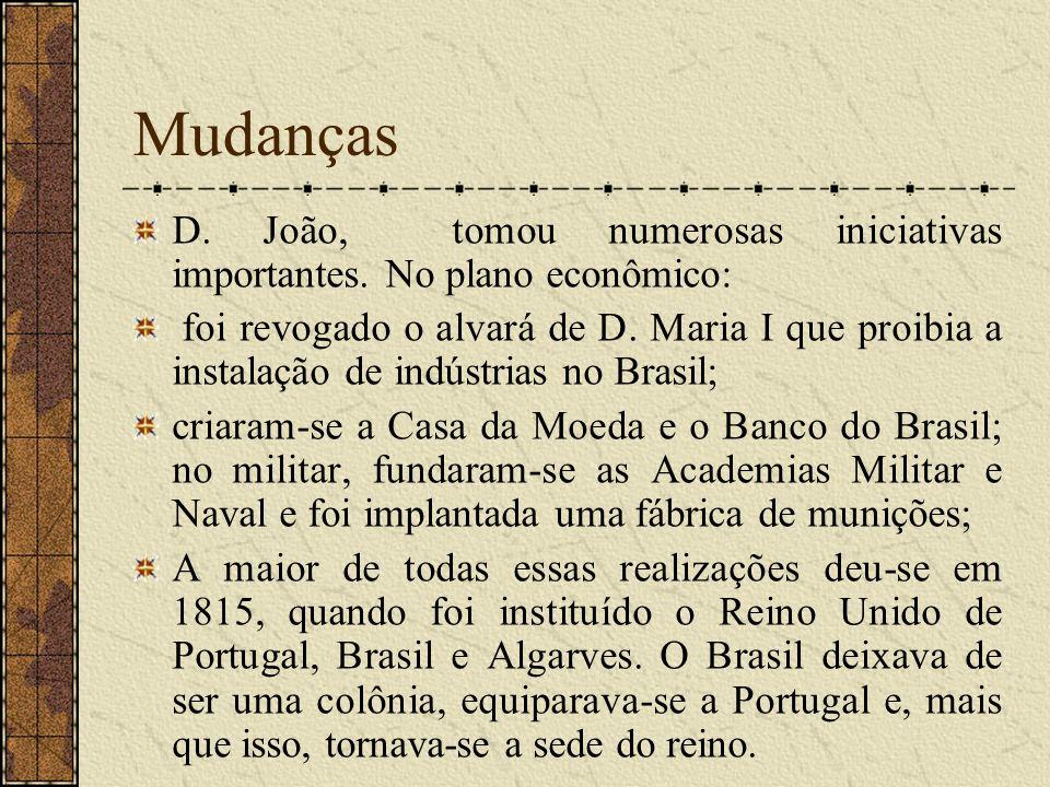 Mudanças D. João, tomou numerosas iniciativas importantes. No plano econômico: