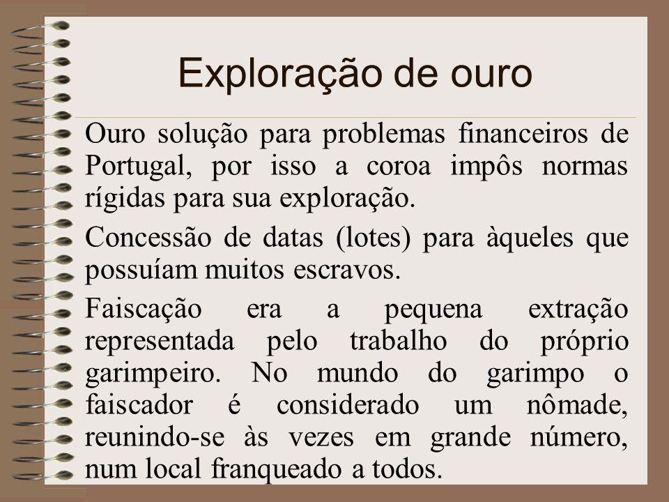 Exploração de ouro Ouro solução para problemas financeiros de Portugal, por isso a coroa impôs normas rígidas para sua exploração.