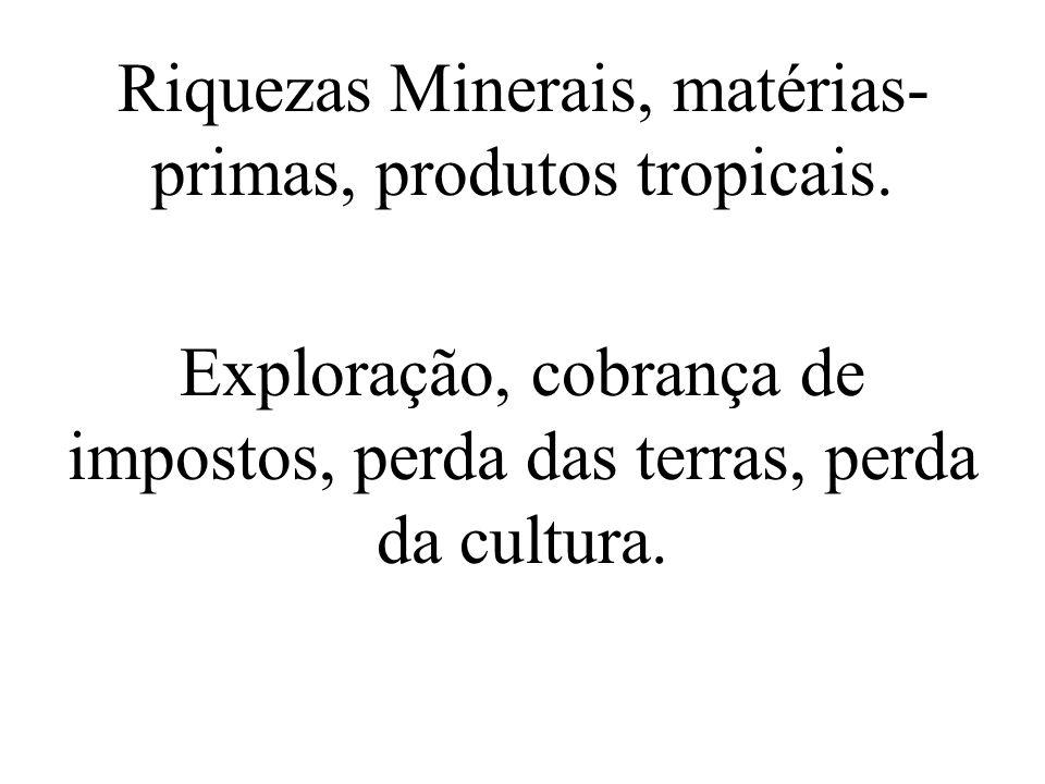 Riquezas Minerais, matérias-primas, produtos tropicais