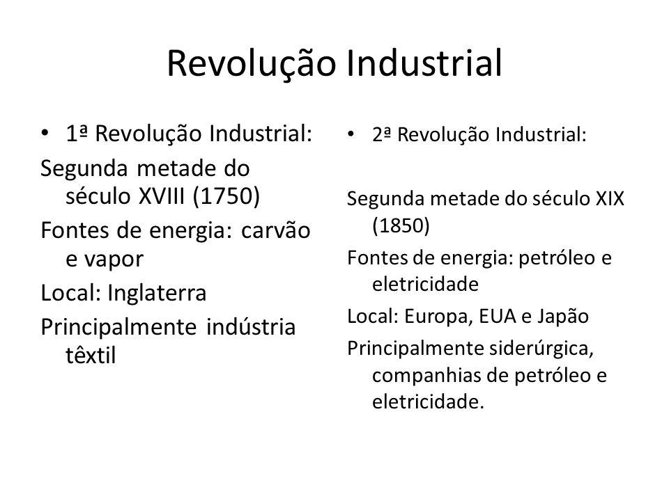 Revolução Industrial 1ª Revolução Industrial:
