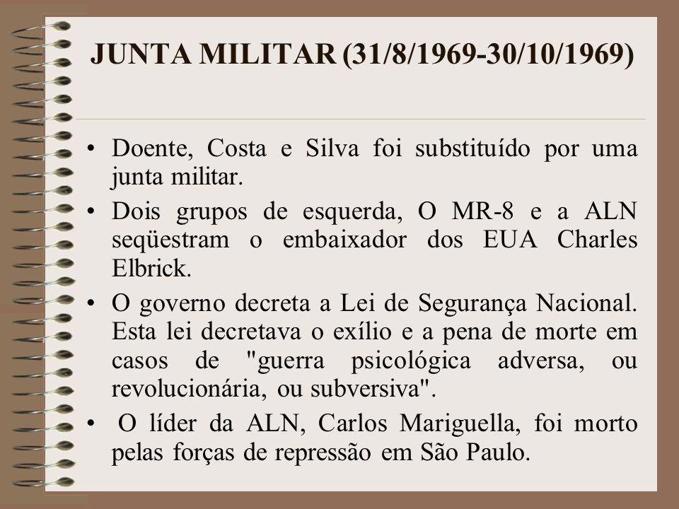 JUNTA MILITAR (31/8/1969-30/10/1969) Doente, Costa e Silva foi substituído por uma junta militar.