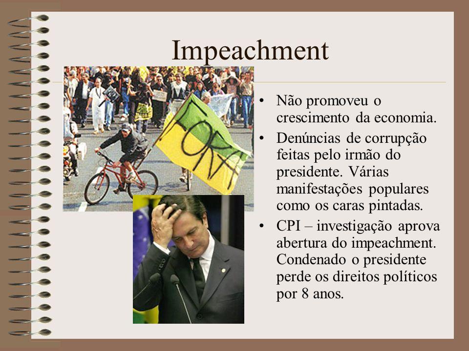 Impeachment Não promoveu o crescimento da economia.