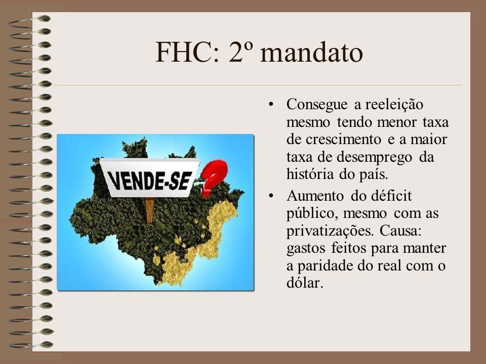FHC: 2º mandato Consegue a reeleição mesmo tendo menor taxa de crescimento e a maior taxa de desemprego da história do país.