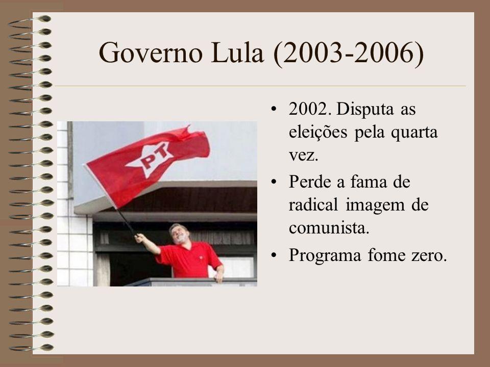 Governo Lula (2003-2006) 2002. Disputa as eleições pela quarta vez.