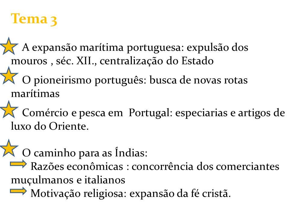 Tema 3 A expansão marítima portuguesa: expulsão dos mouros , séc. XII., centralização do Estado.